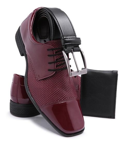 Sapato Social Masculino Verniz Brilhoso Cinto + Carteira 701