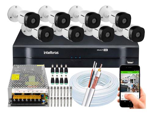 Kit Cftv 8 Câmeras Segurança Intelbras 1010 Dvr 8ch Multi Hd
