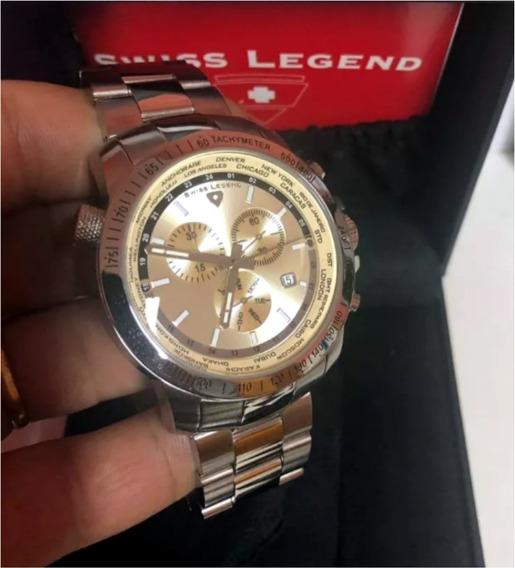 Swiss Legend 10013 World Timer Suiço 45mm Original