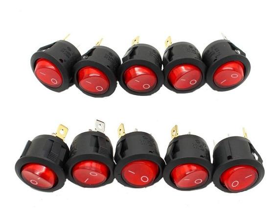 10 Switch On/off De Boton 110v 250v Led On Off Diy