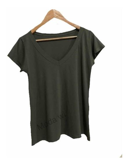 Kit C/ 5 Blusa T Shrt Camiseta Decotada Feminina Podrinha