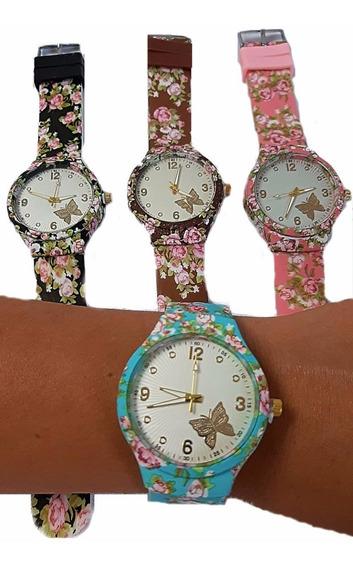 Relógio Floral Lindo Charmoso Delicado Tendencia Feminino