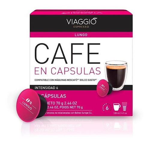Pack 30 Cápsulas Café Viaggio Lungo Para Dolce Gusto®