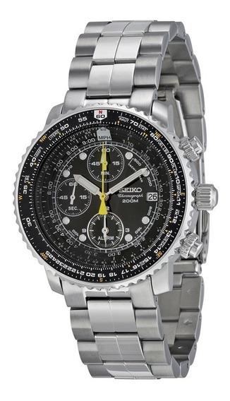 Reloj Seiko Flight Alarma Negro Acero Cronógrafo Sna411