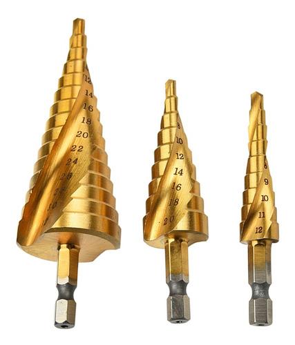 Juego de herramientas de corte m/étrico de mango hexagonal para profesionales amantes de DIY 5//32a 5//4 32 mm 20 mm Danolt 3 Piezas Broca Escalonada Bits de 4 mm a 12 mm