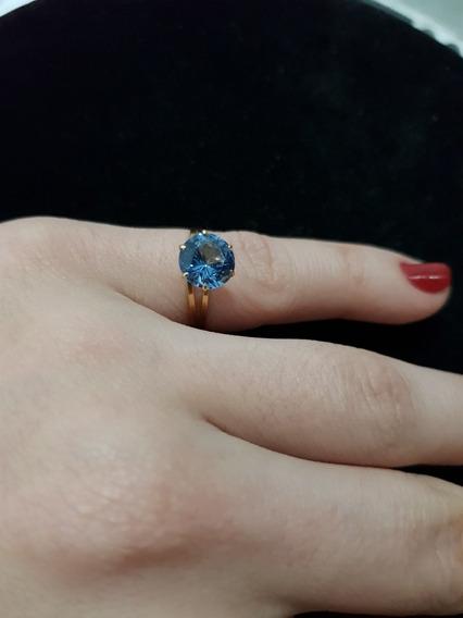 Anel Solitário Pedra Azul Ouro 18k 1.4 Gramas Aro 15