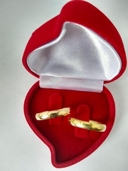 Par Alianças De Ouro 18k 3,5mm 6.0 Gramas Noivado/ Casamento