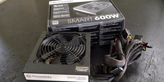 Fonte Atx Thermaltake 600w Smart Series 80 Plus, Pfc Ativo