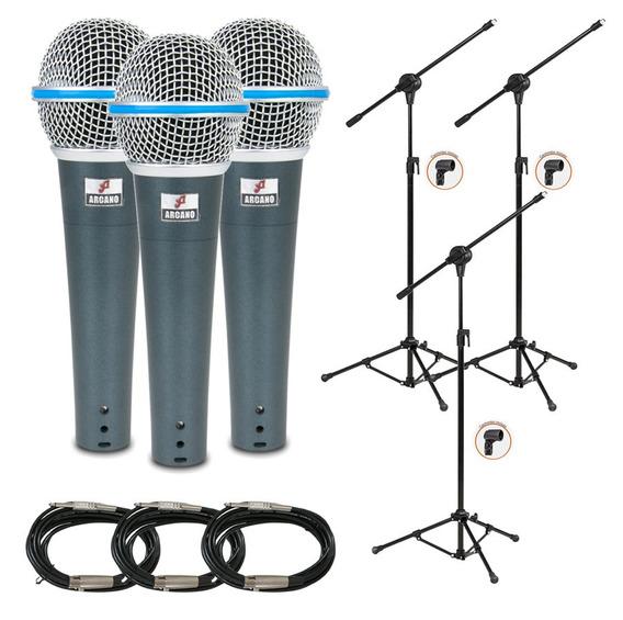 3 Microfones Osme-8 Cabos Xlr-p10 + 3 Pedestais Vector