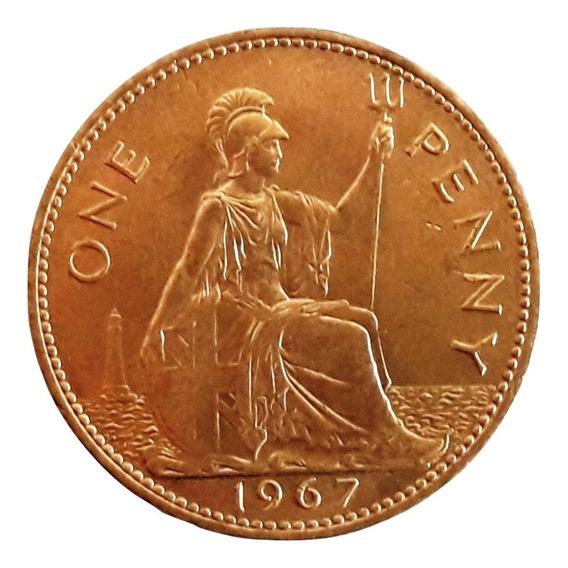 Inglaterra Moneda De Bronce De 1 Penny Del Año 1967 (30 Mm)
