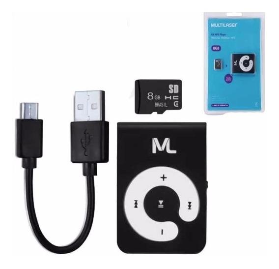 Mp3 Player Multilaser + Cartão Micro Sd 8gb