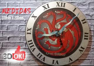 Reloj De Pared De Game Of Thrones Casa Targaryen