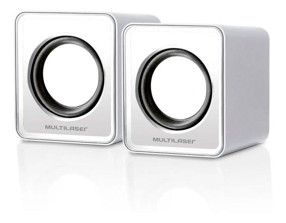 Caixa De Som 2.0 Mini 3w Rms Branco - Sp199