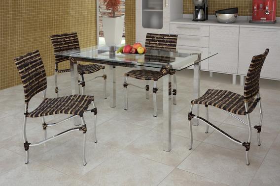 Jogo De Mesa 4 Cadeiras P/ Cozinha Fibra Sintética Alumínio