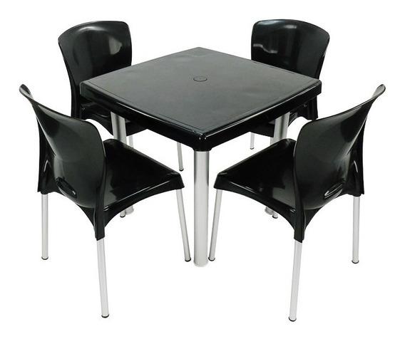 1 Mesa Quadrada Pés Alumínio 4 Cadeira Plástico Pés Alumínio