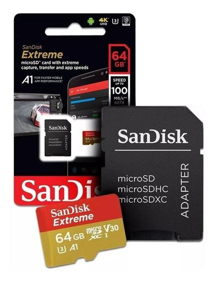 Cartão Micro Sd Sdxc Sandisk Extreme 64gb 160mbs U3 A2 Lacr.