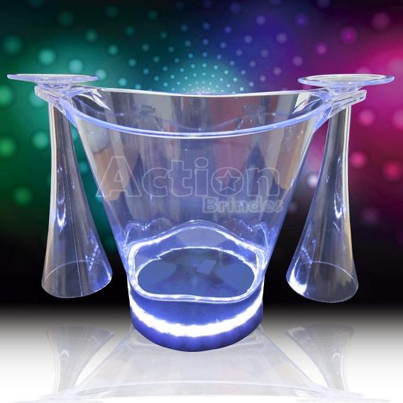 Balde De Gelo Com Led + 2 Taças Cristal Neon