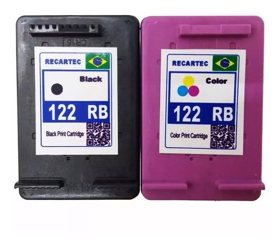Kit 2 Cartucho 122 Preto Color Impressora Deskjet 2050