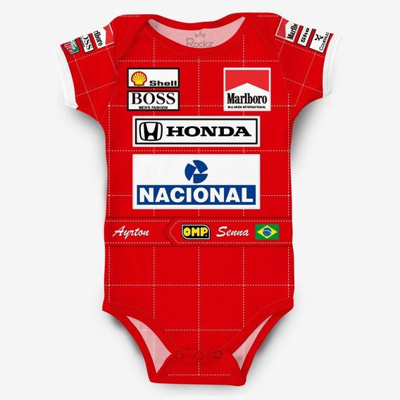 Body Ayrton Senna Mclaren Honda F1 Corrida Para Bebê