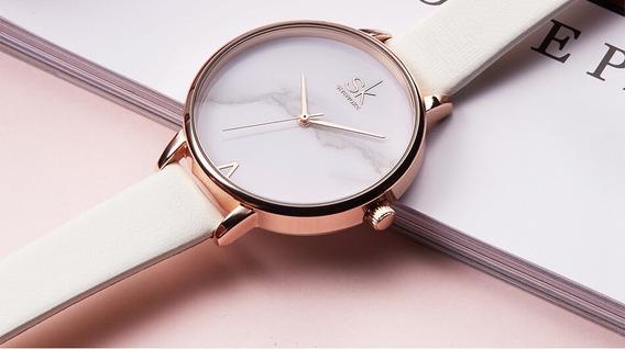 Relógio Feminino Pulso Modelo Clássico Shengke Branco E Rose