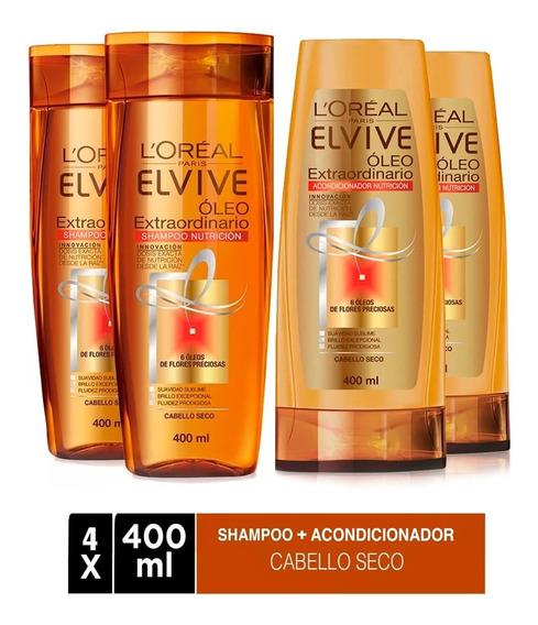 Pack 2 Shampoo + 2 Aco Elvive Oleo Extraordinario L