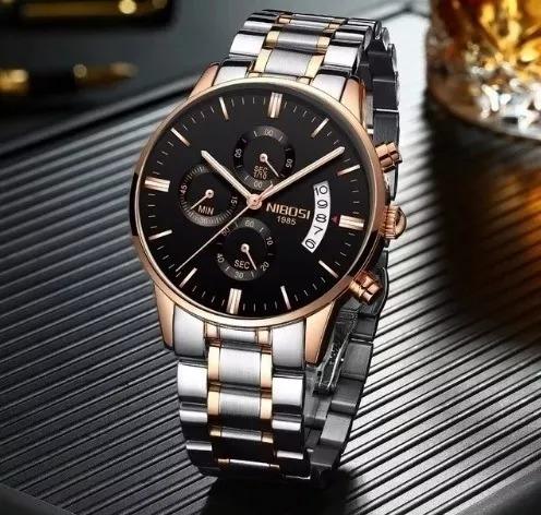 Relógio Nibosi Masculino Original Prata Com Bronze Promoção