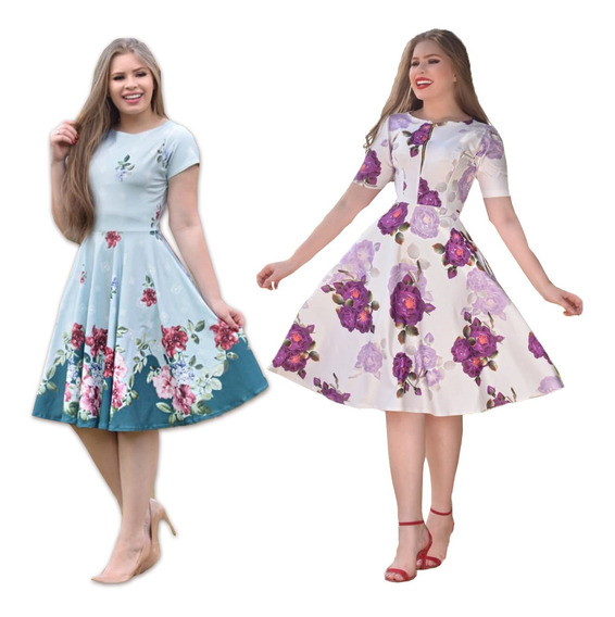 2 Vestidos Evasê Evangélicos Neoprene Floridos