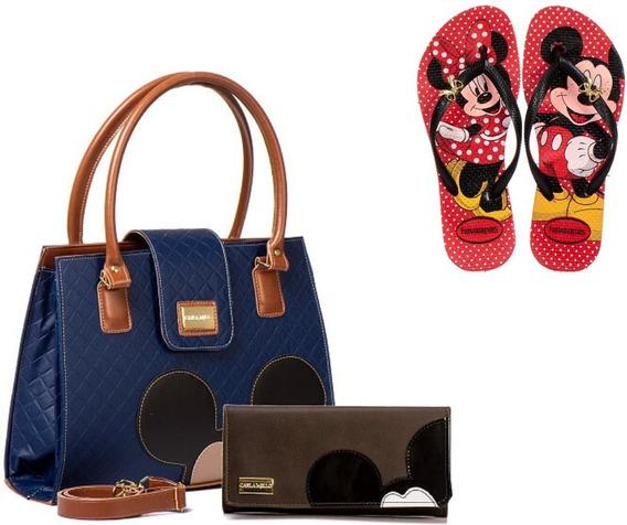 Bolsas Femininas Mickey Carteira + Chinelo Promoção