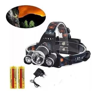 Lanterna De Cabeça Led T6 Recarregavel Zoom C/ Bateria Inter