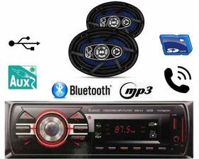 Kit Som Carro Radio Mp3 Bluetooth + Auto Falante 6x9 200w