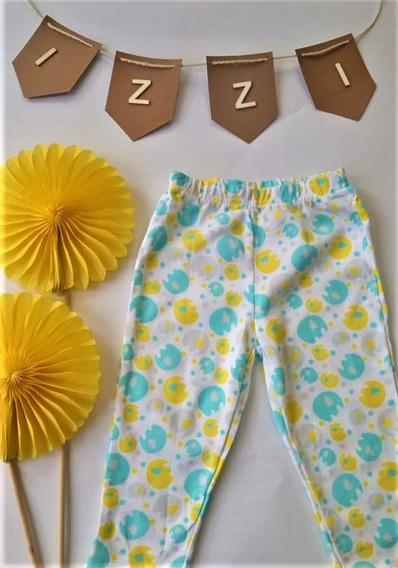 Leggings O Pantalón Blanco Con Estampados Amarillo Y Azul