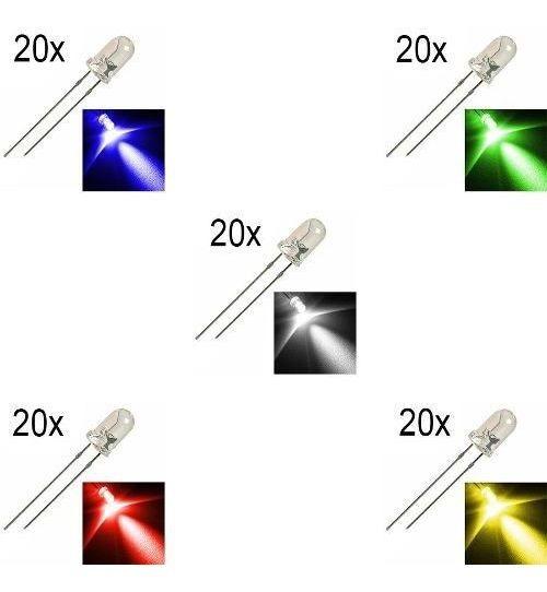 Kit Diversas Cores Com 100 Leds De 5mm Alto Brilho 20un Cada
