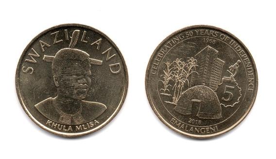 Swazilandia Moneda 5 Emalangeni Año 2018 50º Independenc Unc