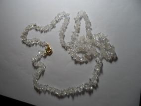 Colar Cascalho De Cristal De 83cm Feicho Boião Folheado Ouro