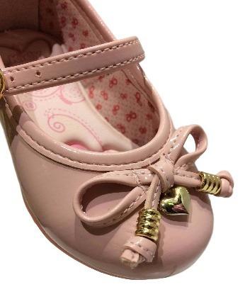 Sapatilha Menina Rosa Verniz Lacinho Kidy Baby 0218