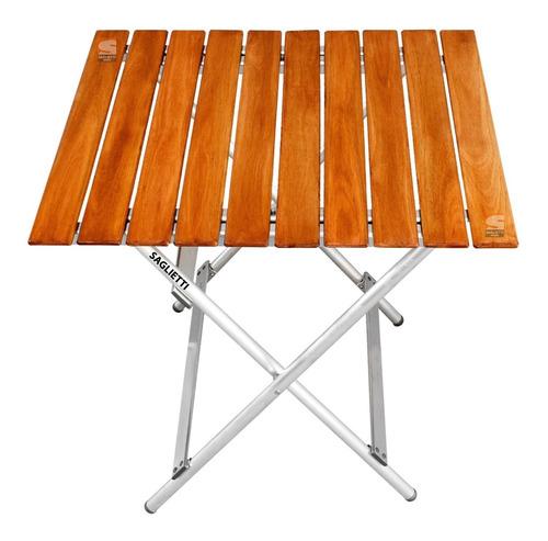 Imagen 1 de 10 de Mesa Plegable Aluminio Madera 75x66 Balcon Jardin Camping
