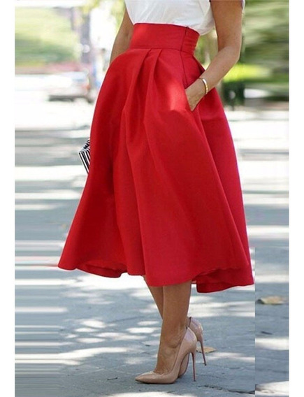 Falda Roja Plisada Vintage Mujer Skater Flared Pleated Swing