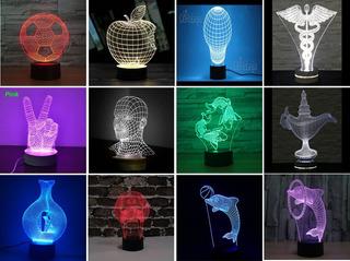 Lampara 3d Luz Led 7 Colores Base Touch - Elige Tu Figura