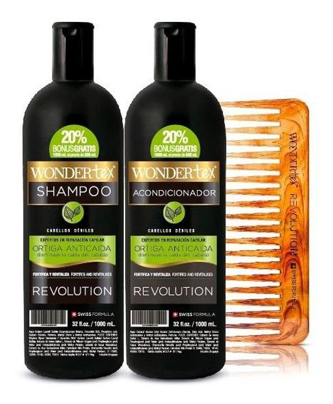 Shampoo Acondicionador Wonder Tex Revolution Ortiga +peineta