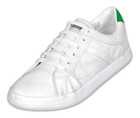 Calzado Juvenil Niño Tenis Panam Tipo Piel En Blanco Comodo