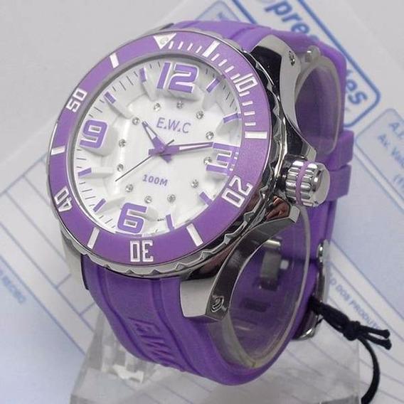 Relógio Feminino Extra Grande E.w.c Lilas 48mm Wr100m