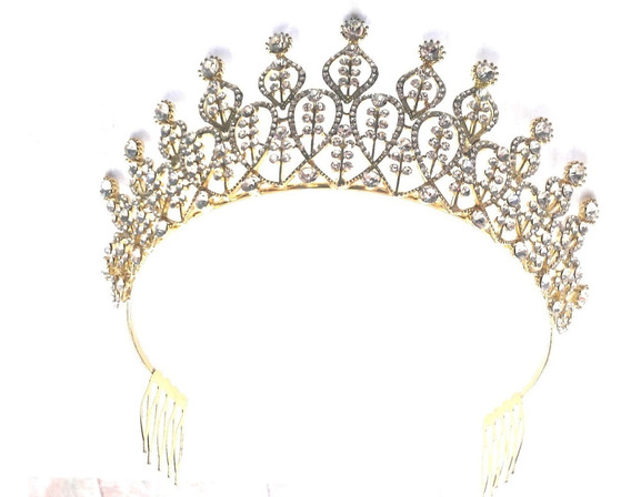 Coroa Brilhante Dourada Miss Noiva Rainha Casamento Strass