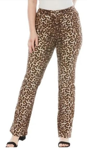 Pantalon Dama Extra 26w Petite Bootcut Stretch Leopardo