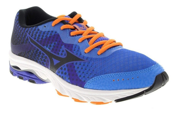 Tenis Mizuno Wave Elevation Azul Prata Laranja - Original Cy