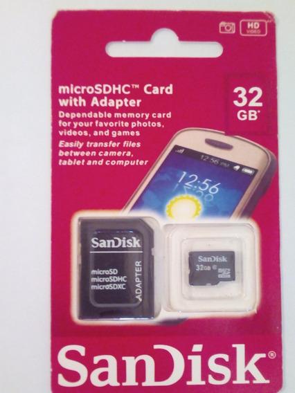 Cartão De Memória Micro Sd 32gb Sandisk Classe 10 Adaptador