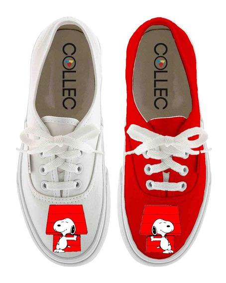 Zapatos Dama Classic Snoopy Casita Pintados A Mano