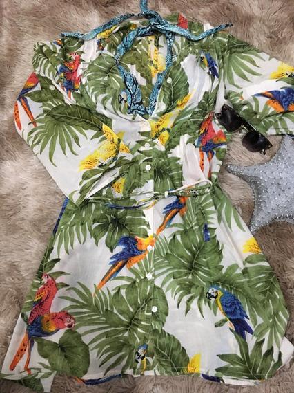 Saída Praia Blusa Kimono Manga 3/4 Botões Araras Verão
