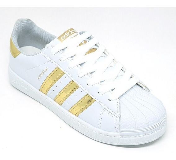 Tênis Adiiidas Superstar Branco E Dourado