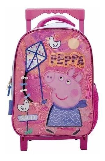 Mochila Escolar Peppa Pig Original 12 Pulgadas Carro Jardin