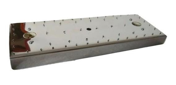 Base De Aço Inox Retangular 32,5 X 12,5 Cm Lustres 56 Furos